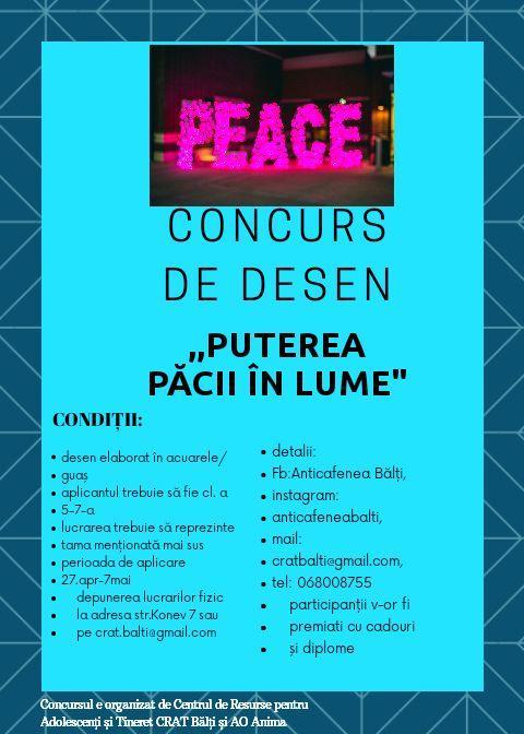 Concurs de desen la CRAT #Puterea păcii în lume!