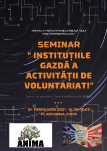 """Oportunitate de participare! Seminar online """"Instituțiile gazdă a activității de voluntariat!"""""""