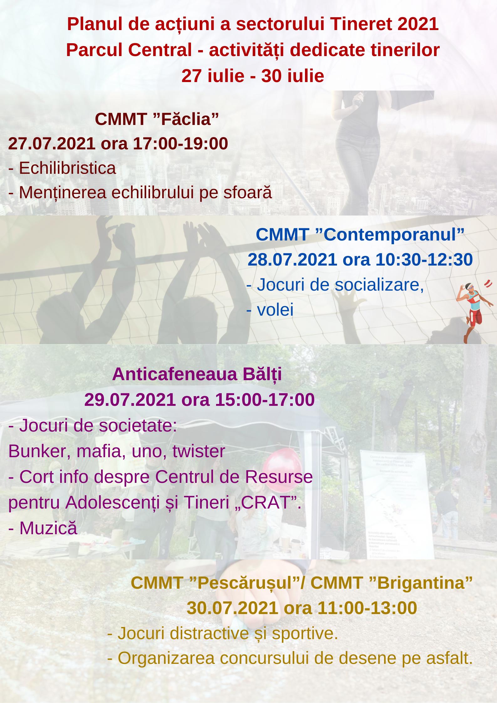 Parcul Central - activități dedicate tinerilor 27-30.07.2021