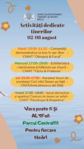 Activități dedicate tinerilor : 02-08 august 2021